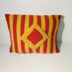 Hand knitted Striped Rectangle Cushion Home Décor